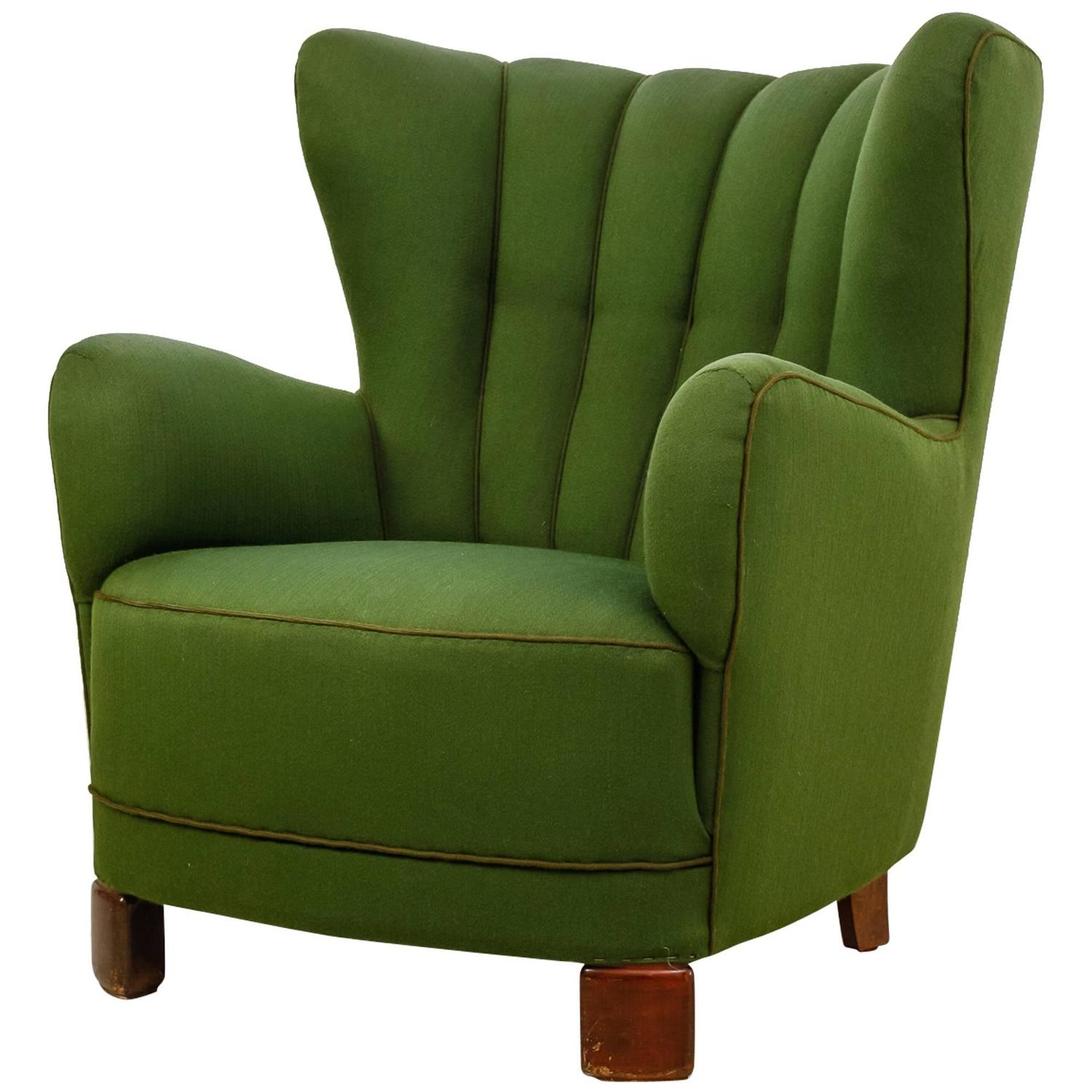 green lounge chair papasan frame canada danish wingback with wool upholstery