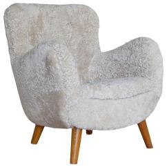 Sheepskin Chair Covers For Recliners Uk And Ottoman Amazon Danish 1940s Lounge In Sale At 1stdibs