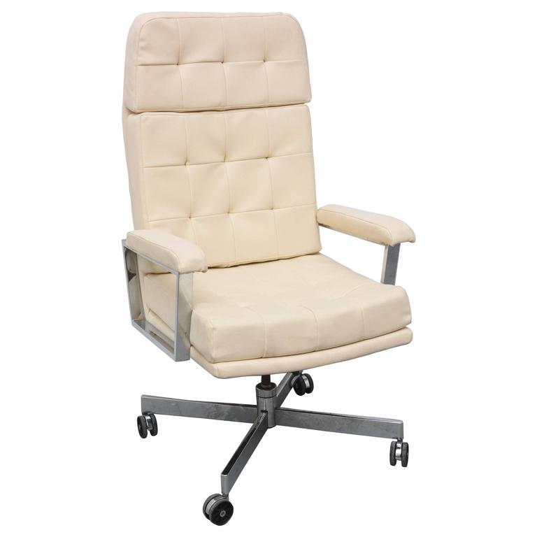 Chrome Tall Back Office Chair 1970s USA at 1stdibs