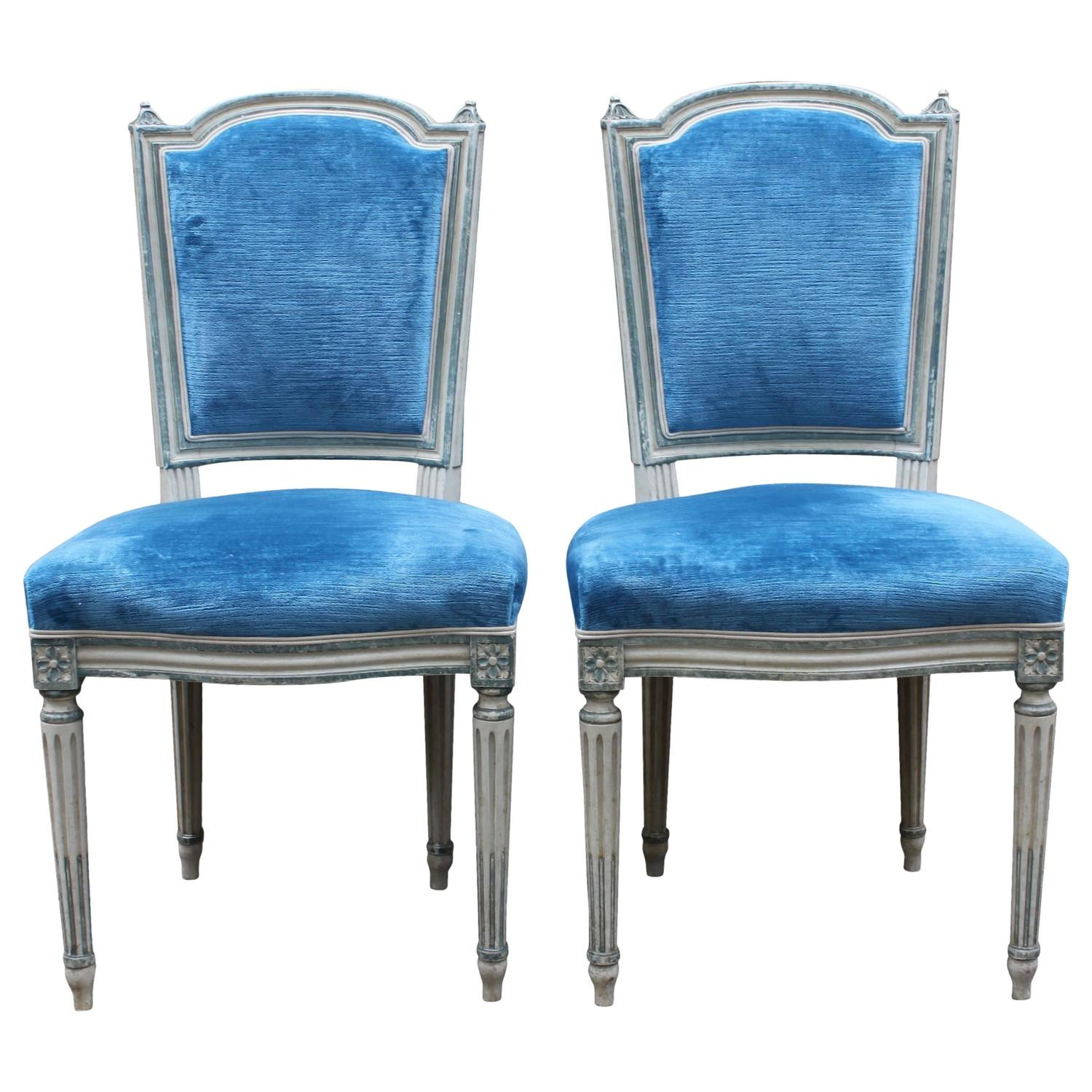 blue and white dining chairs toddler high chair activities pair of french painted louis xvi style