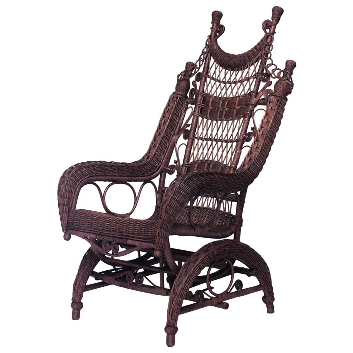 wicker rocking chairs stool chair pictures 19th century american ornate high back