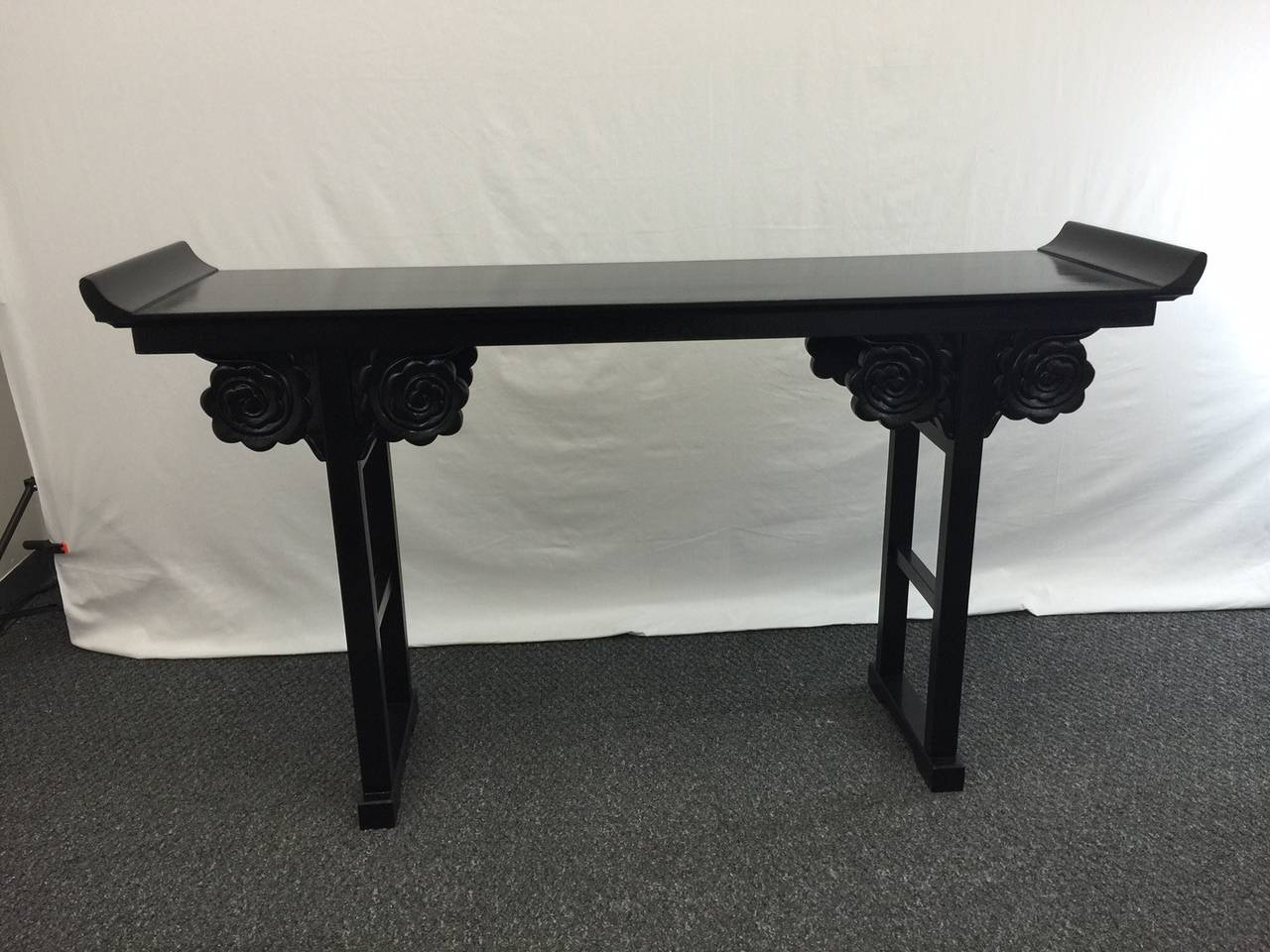 black lacquer sofa table rh maxwell fabric lacquered altar or console at 1stdibs