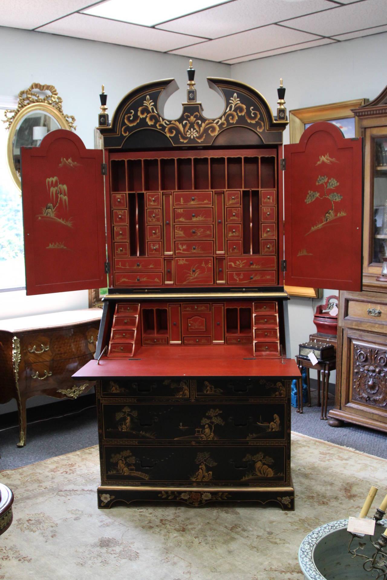 Maitland Smith Queen Anne Style Chinoiserie Secretary Desk