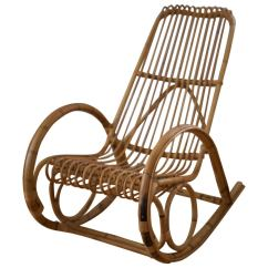Wicker Rocking Chairs Brown Chair Franco Albini Style Rattan At 1stdibs