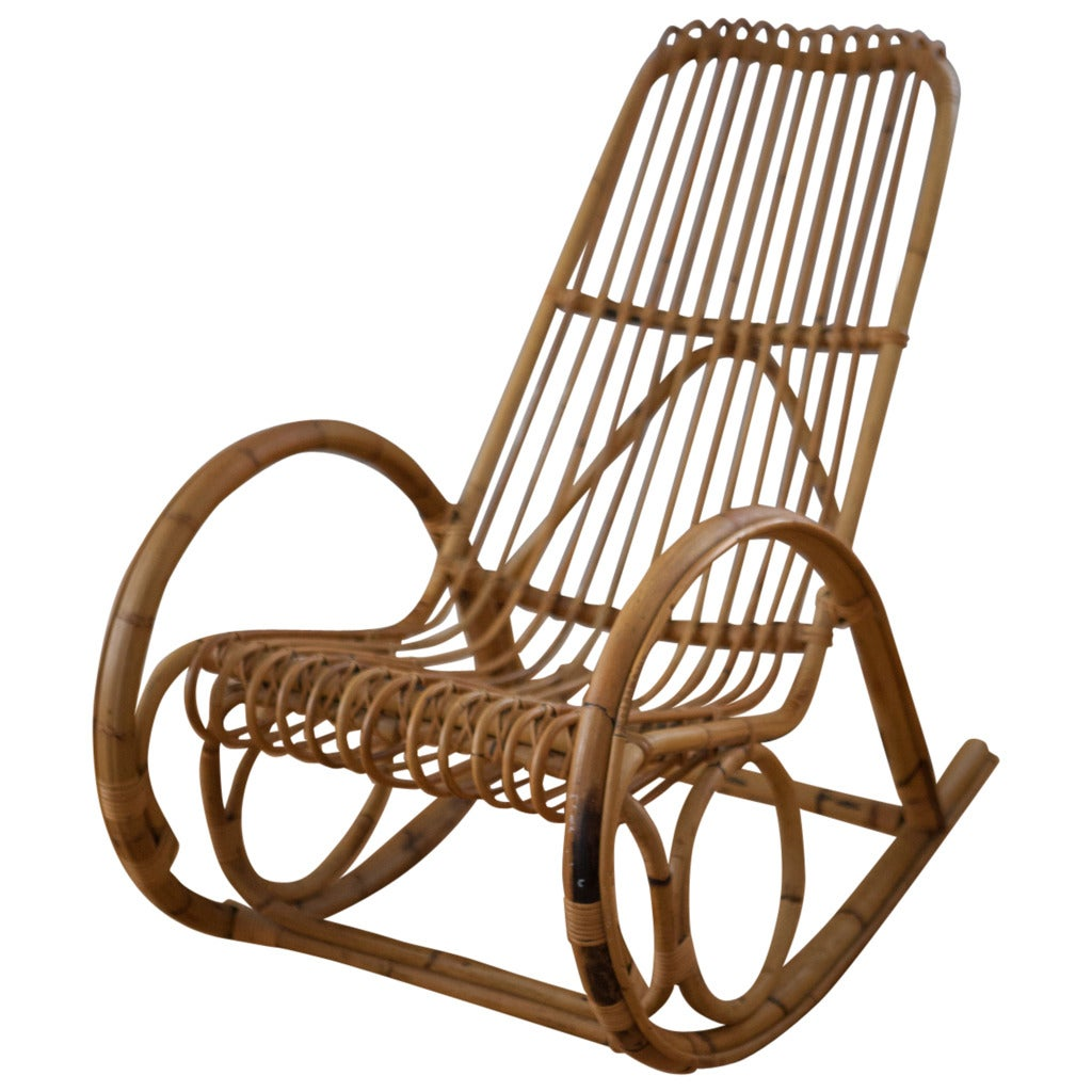 Wicker Rocker Chair Franco Albini Style Rattan Rocking Chair At 1stdibs