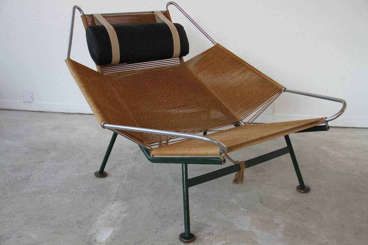 flag halyard chair rattan and ottoman by hans wegner at 1stdibs