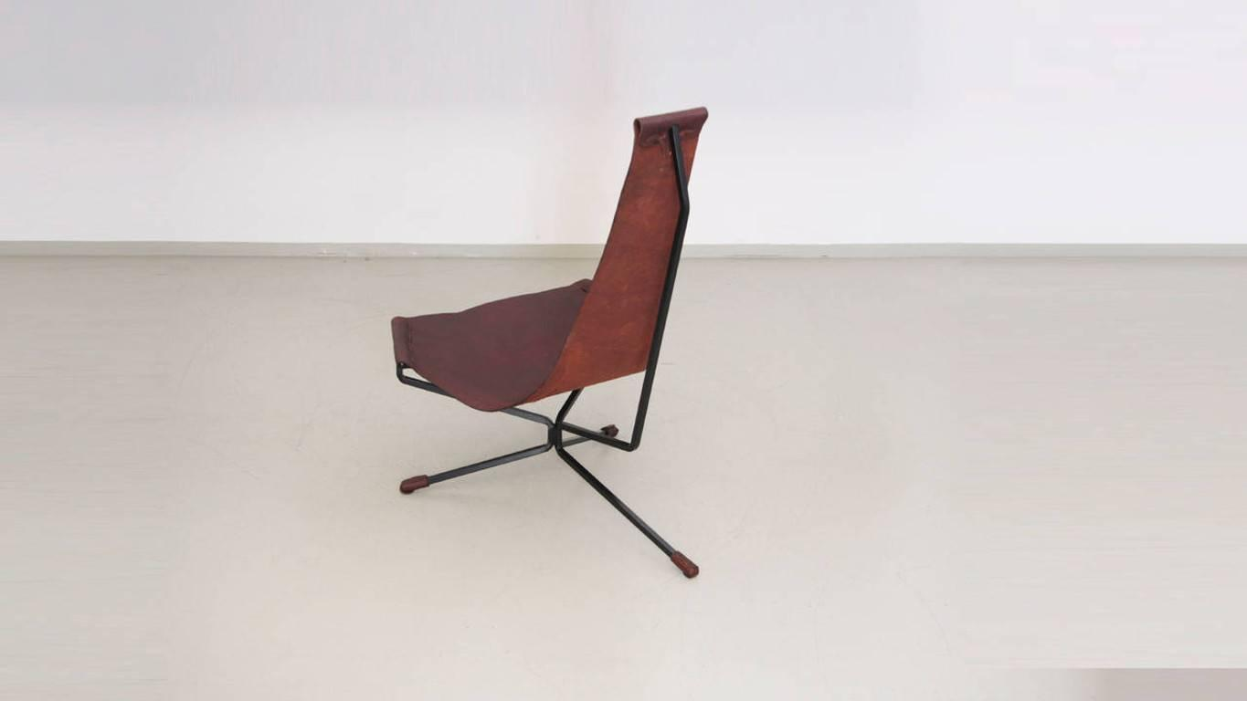 Wenger Chairs Pair Of Dan Wenger Lotus Chair In Leather And Metal For