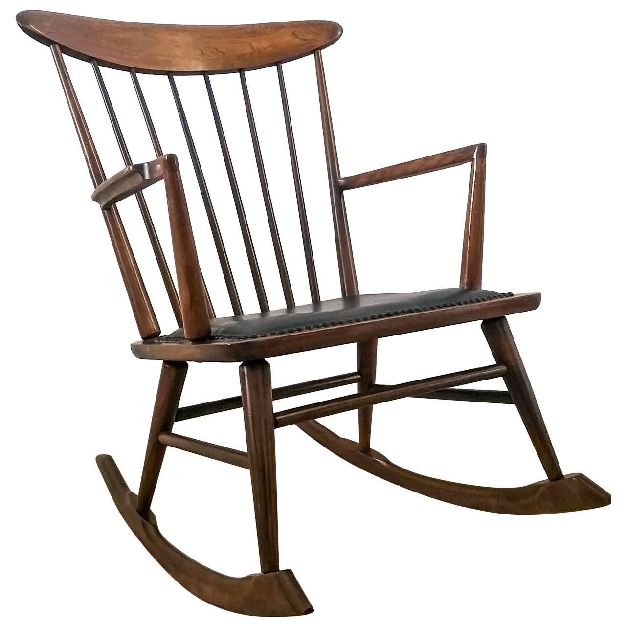 danish modern rocking chair the wooden sculptural at 1stdibs
