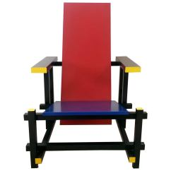 Red Blue Chair Covers And Bows For Wedding In The Manner Of Gerrit Rietveld At 1stdibs