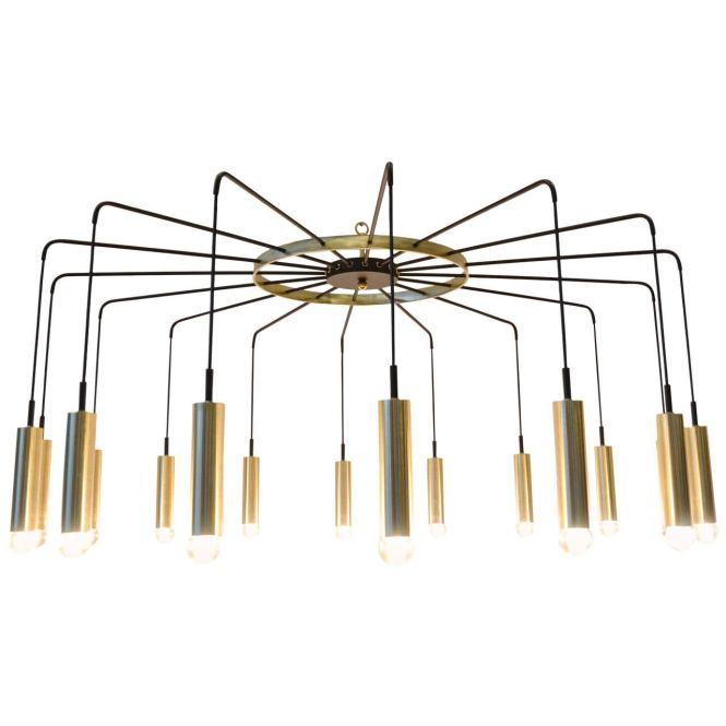 Brass And Steel Modern Spider Chandelier 1