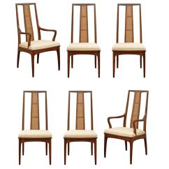 Elegant Dining Room Chairs Electric Chair Execution Videos Set Of Six Walnut And Cane By John