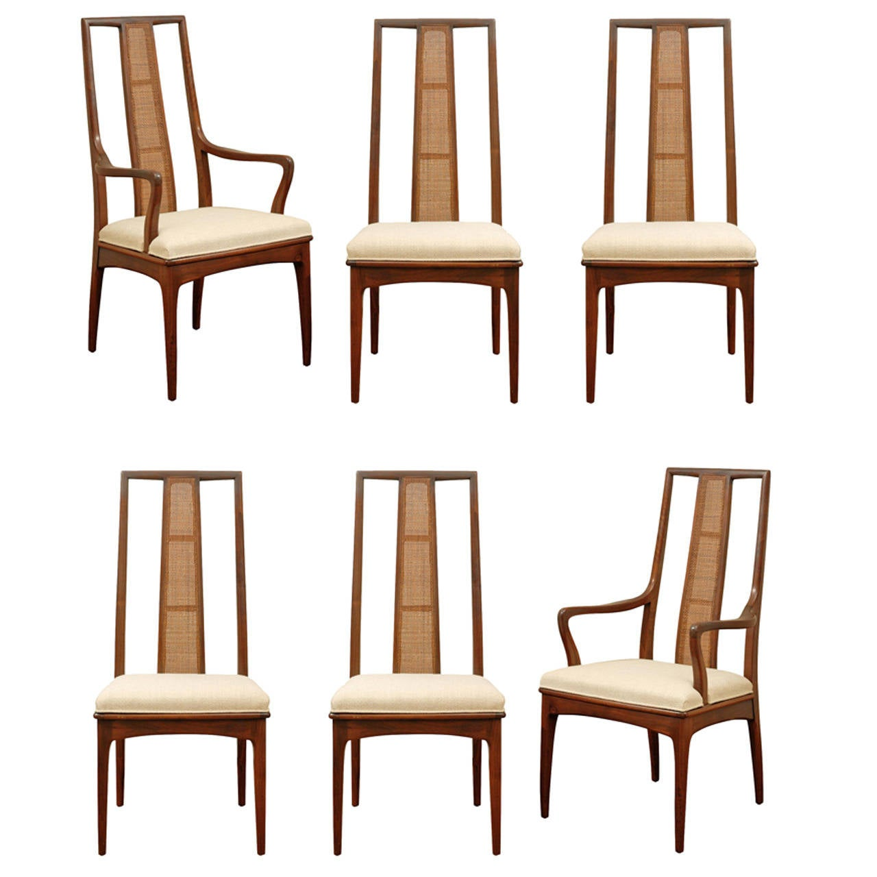 Cane Dining Chairs Elegant Set Of Six Walnut And Cane Dining Chairs By John