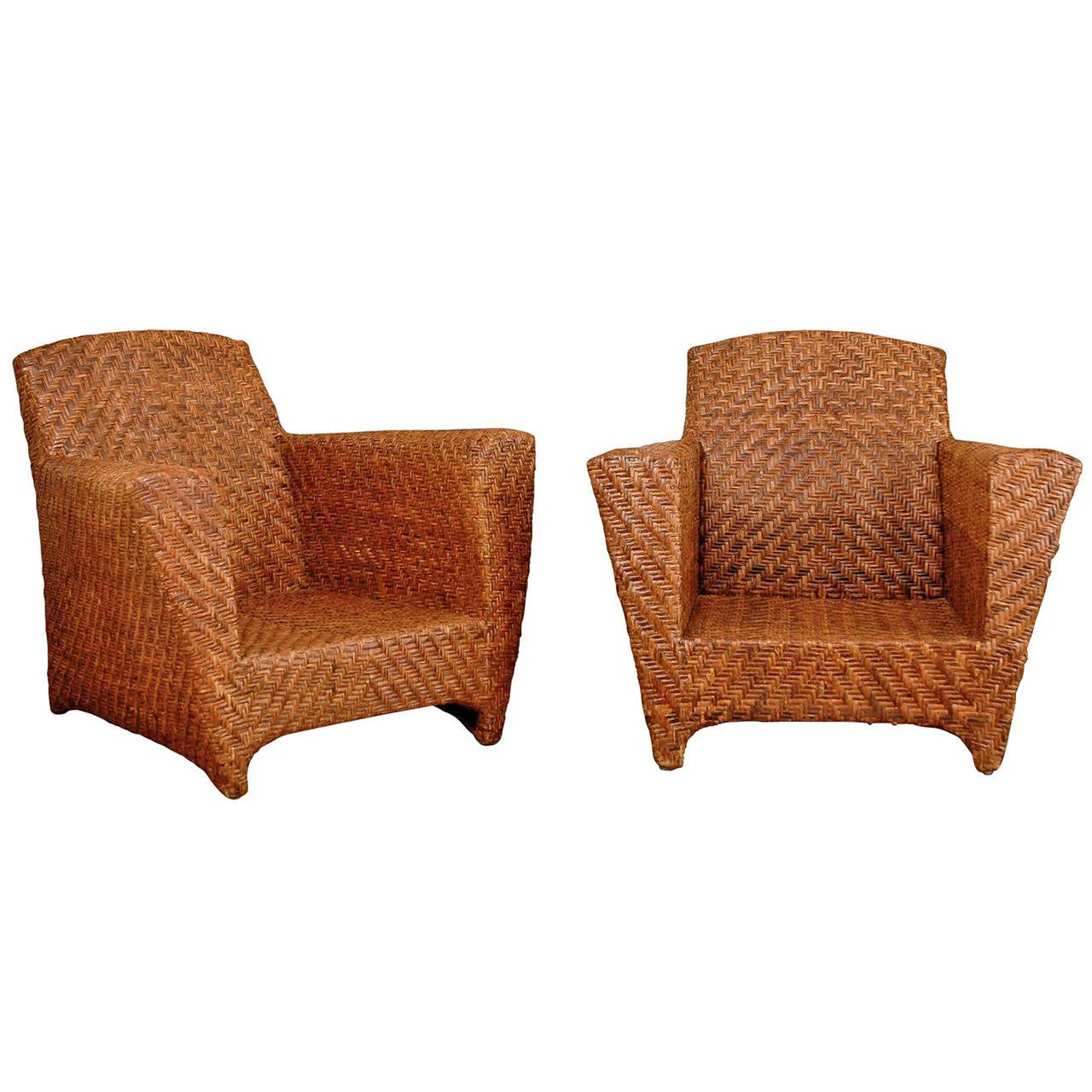 Vintage Rattan Chairs Handsome Pair Of Vintage Rattan Club Chairs At 1stdibs