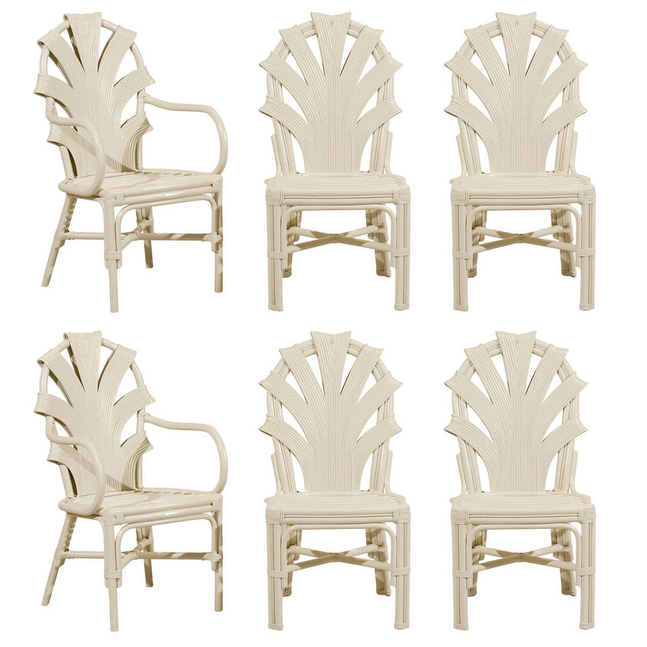 Vintage Rattan Chairs Exceptional Set Of Six Vintage Rattan Dining Chairs In