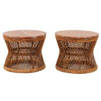 Pair of Vintage Rattan and Marble End or Coffee Tables at ...