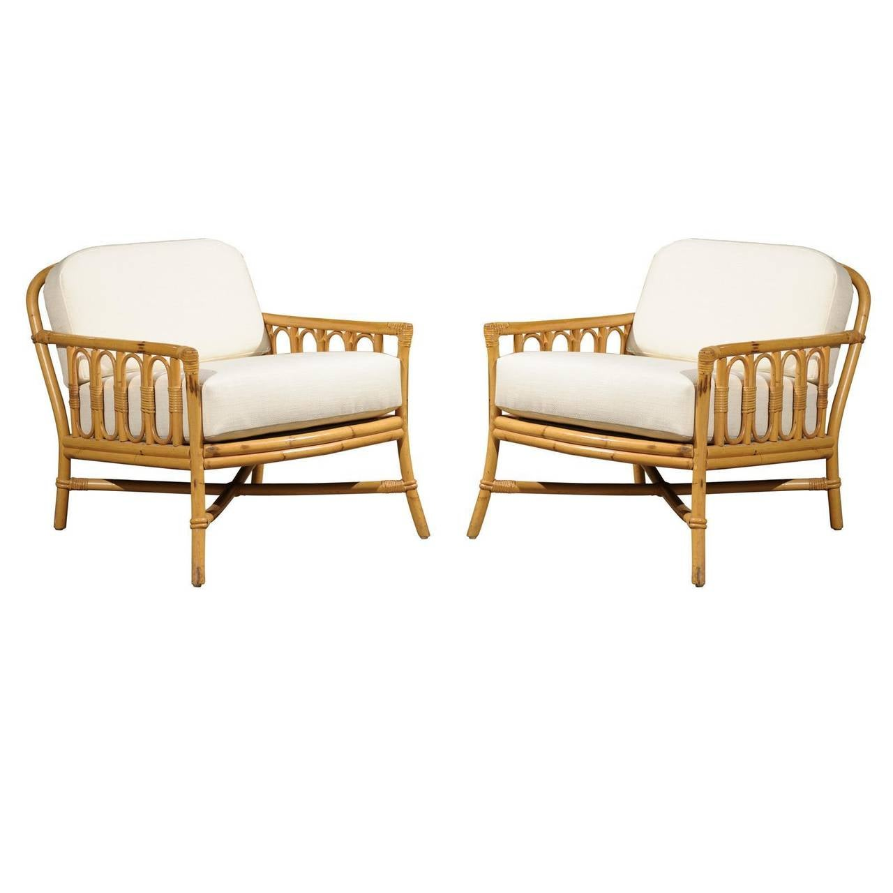 Vintage Rattan Chairs Decorative Pair Of Vintage Rattan Lounge Chairs By Ficks