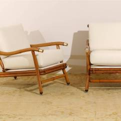 Ficks Reed Chair Eames Price Restored Pair Of Campaign Lounge Chairs By John Wisner For