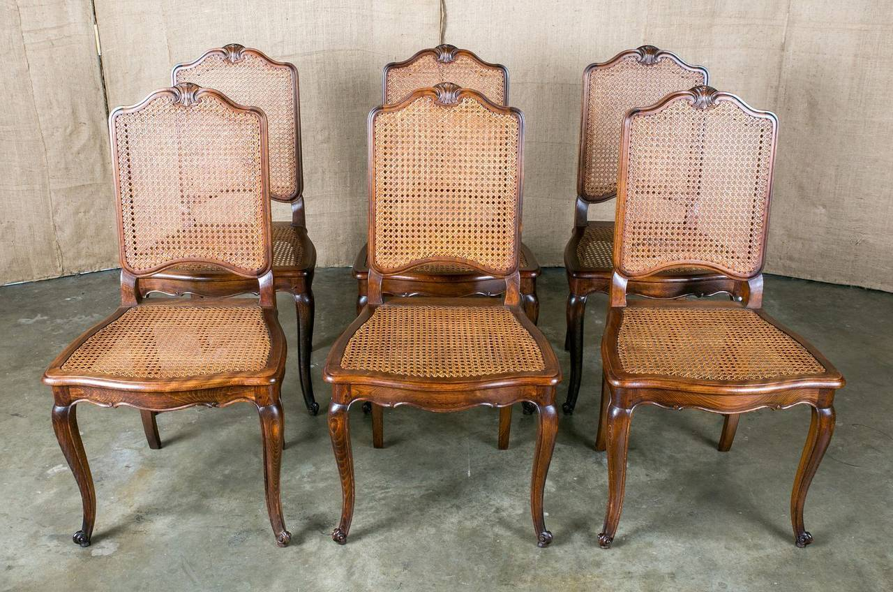 French Dining Chairs Set Of 6 French Louis Xv Style Cane Dining Chairs At 1stdibs