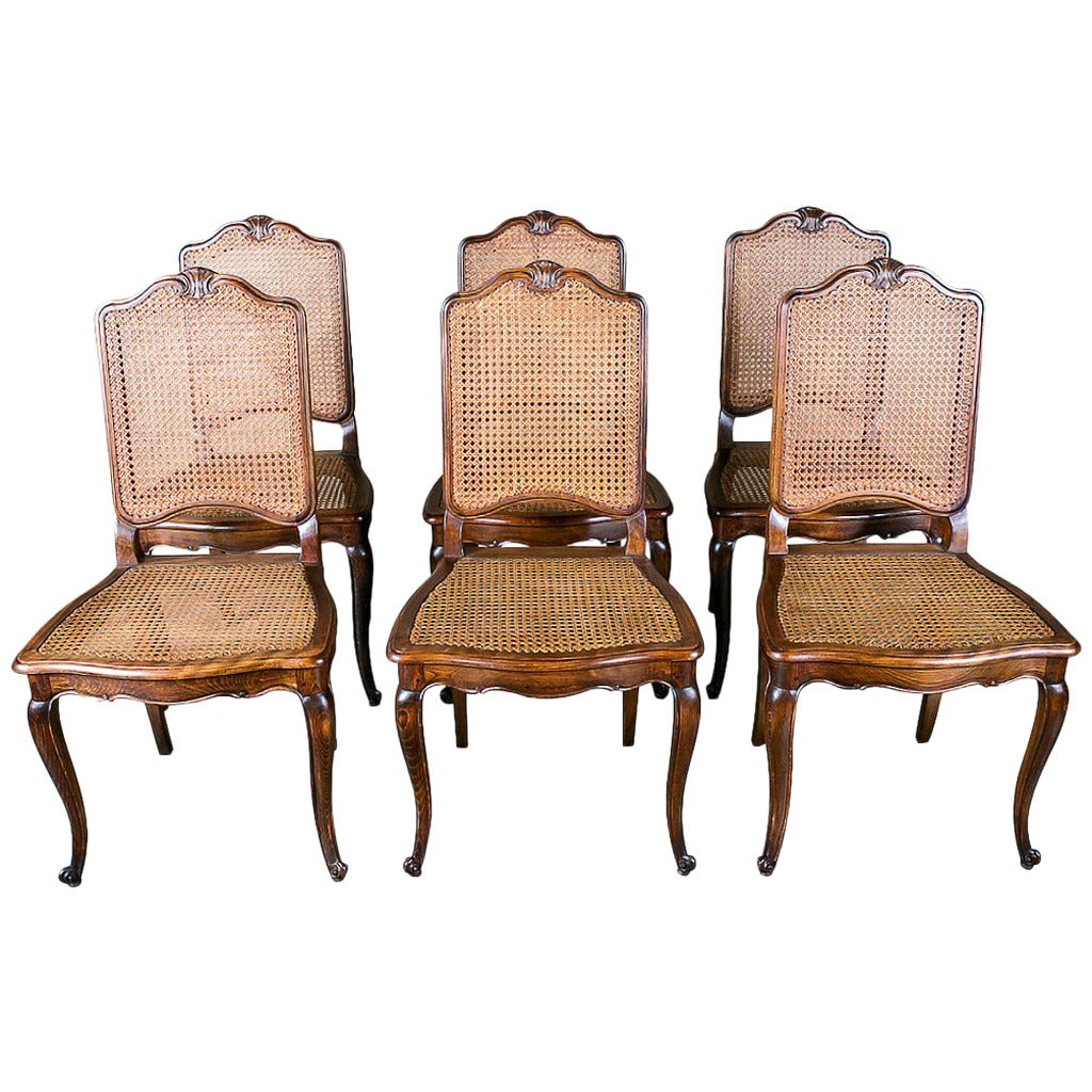 french louis chair viva office set of 6 xv style cane dining chairs at 1stdibs