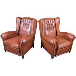 Tufted Leather Wingback Chair Walmart Cushions Pair Of French Wing Chairs With Reversible