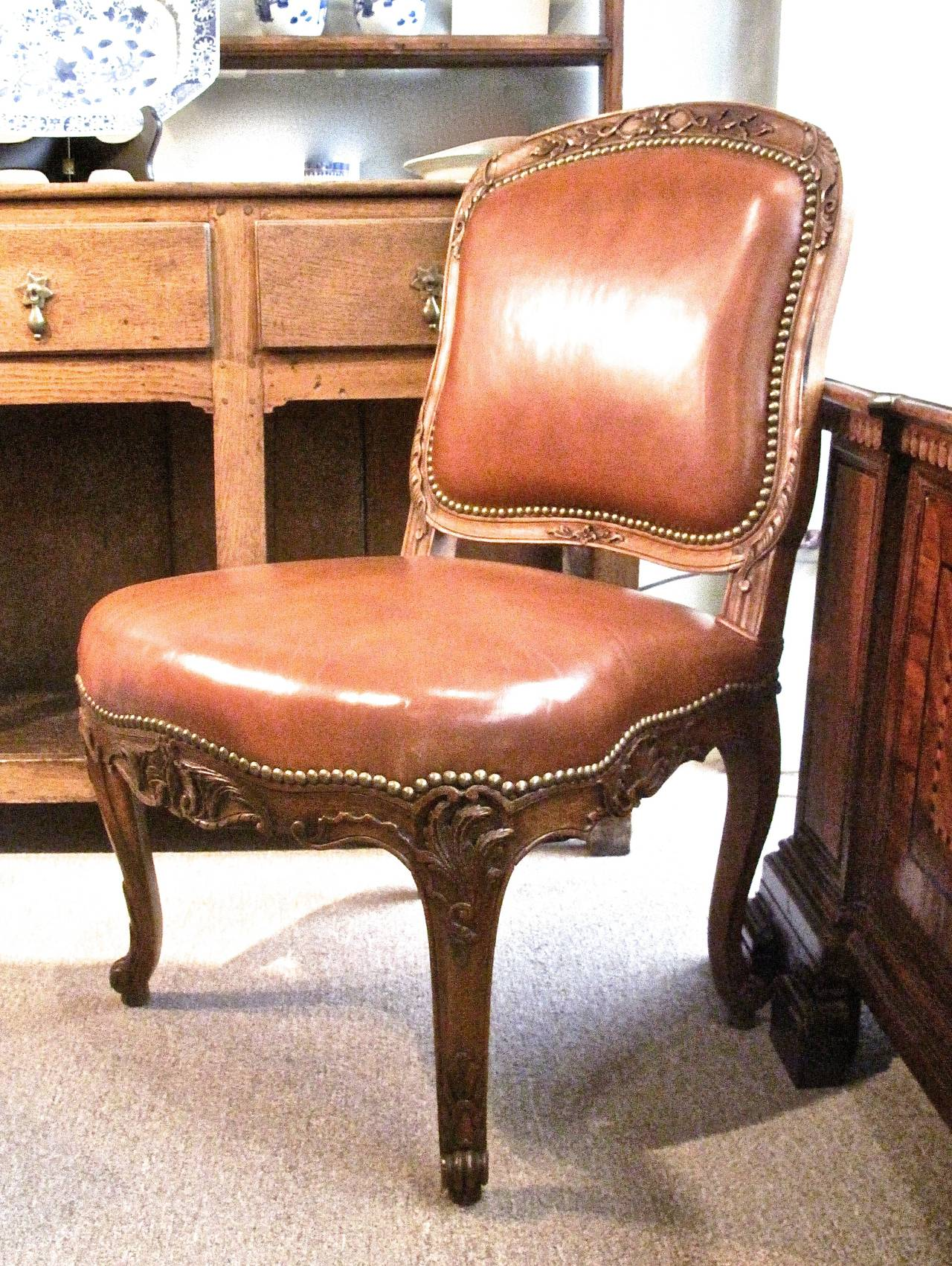 emil leather slipper chair brown chairs for living room pair of french louis xv style by