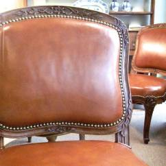Emil Leather Slipper Chair Lounge Ottoman Pair Of French Louis Xv Style Chairs By