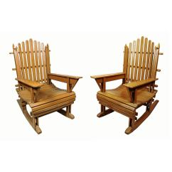 Paint For Adirondack Chairs Curved Lounge Chair Pair Of Vintage Painted Wood Rocking At