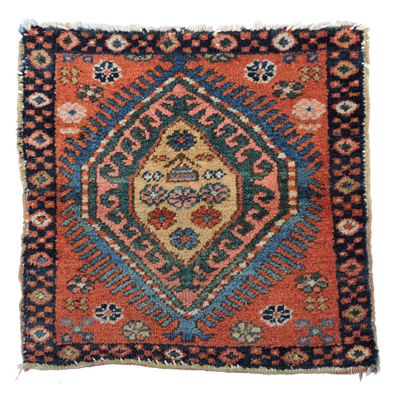 Antique Tribal Oriental Rug Heriz Mat For Sale at 1stdibs