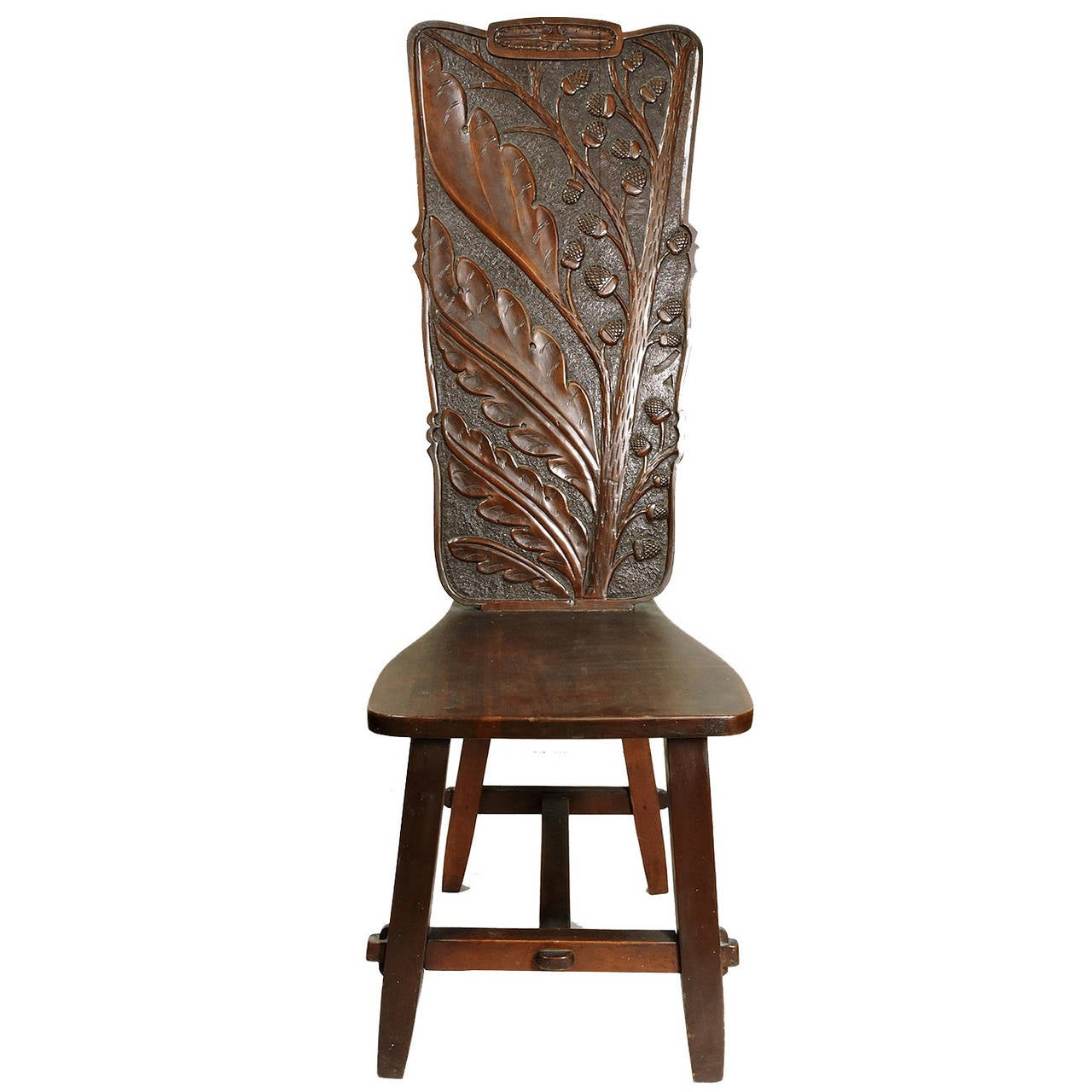 arts and crafts chairs desk chair back pain period carved oak high for sale