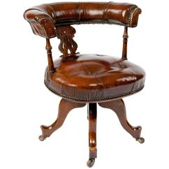 Victorian Accent Chairs Handmade Wooden Leather Upholstered Desk Chair At 1stdibs