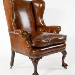 Leather Wingback Chairs Rattan Garden Only Uk 19th Century Walnut Wing Chair At 1stdibs