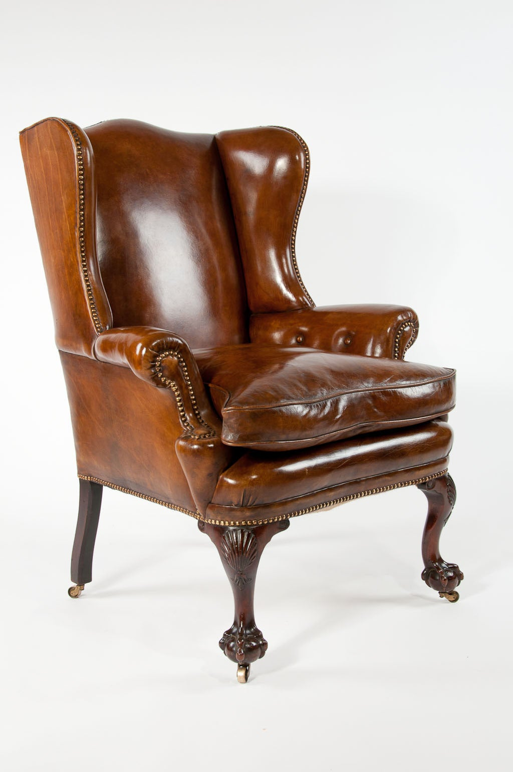 Leather Wing Back Chair 19th Century Walnut Leather Wing Chair At 1stdibs
