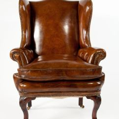 Leather Wingback Chairs Home Studio Lincoln Dining 19th Century Walnut Wing Chair At 1stdibs