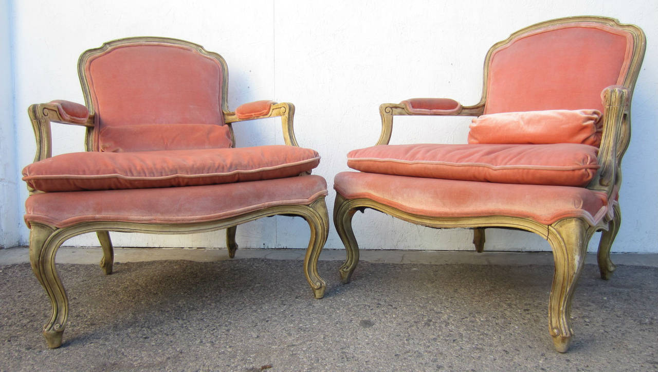 Phyllis Morris Designed Louis XV Bergere Chairs In Pink