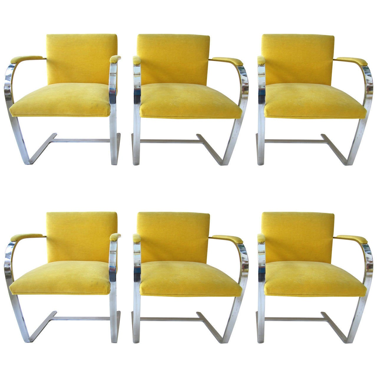 yellow upholstered dining chairs tufted arm chair six 1960s mies van der rohe brno in