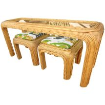 vintage split bamboo rattan console