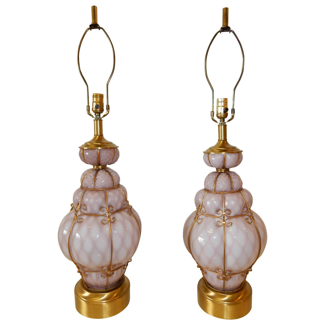 Seguso Murano Italy Bubble Cage Art Glass Table Lamps In
