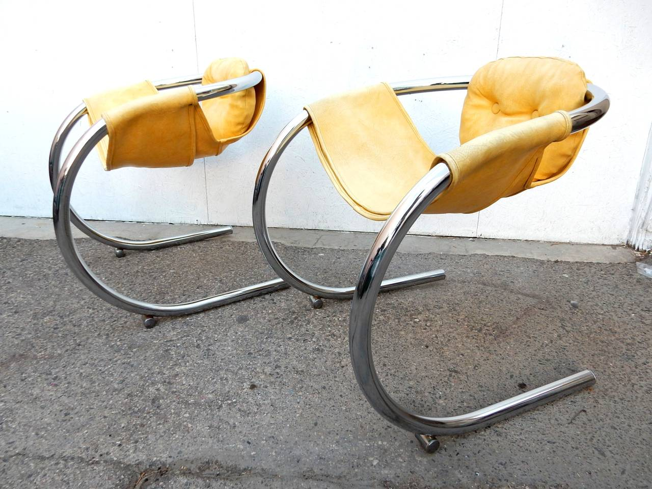 easy chair nadir steel chrome cheap universal covers mod tube cantilever sling chairs by byron botker