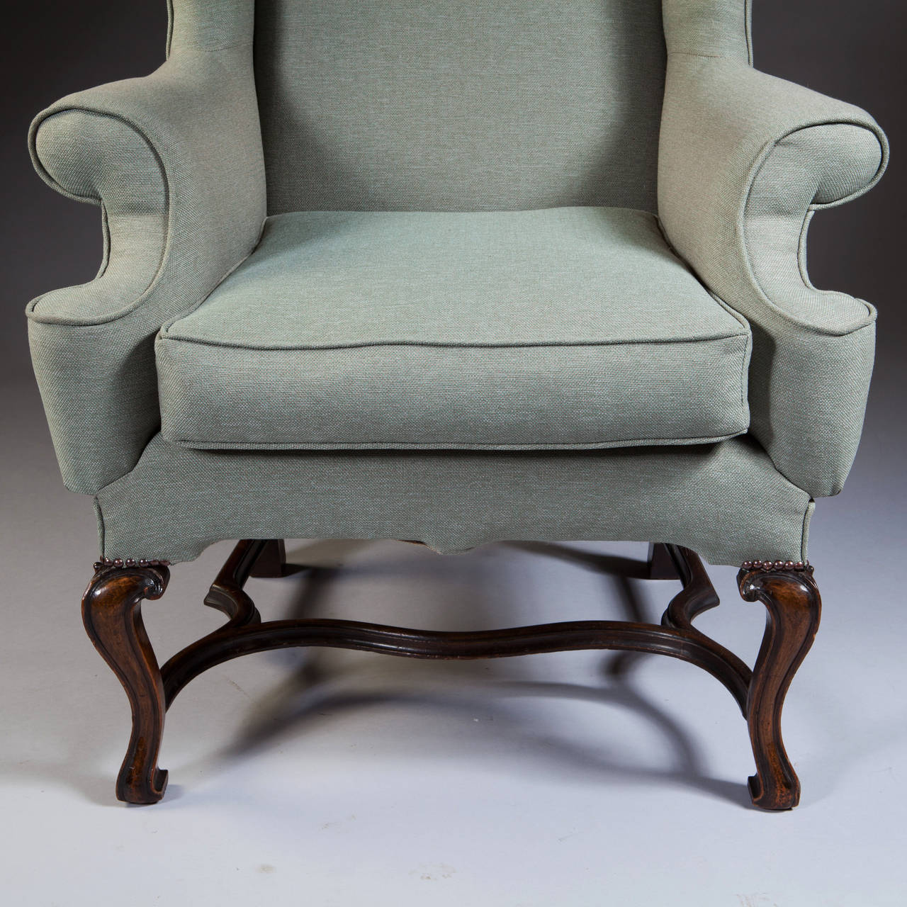 large wingback chair stool with cushion george i style scale wing for sale at 1stdibs