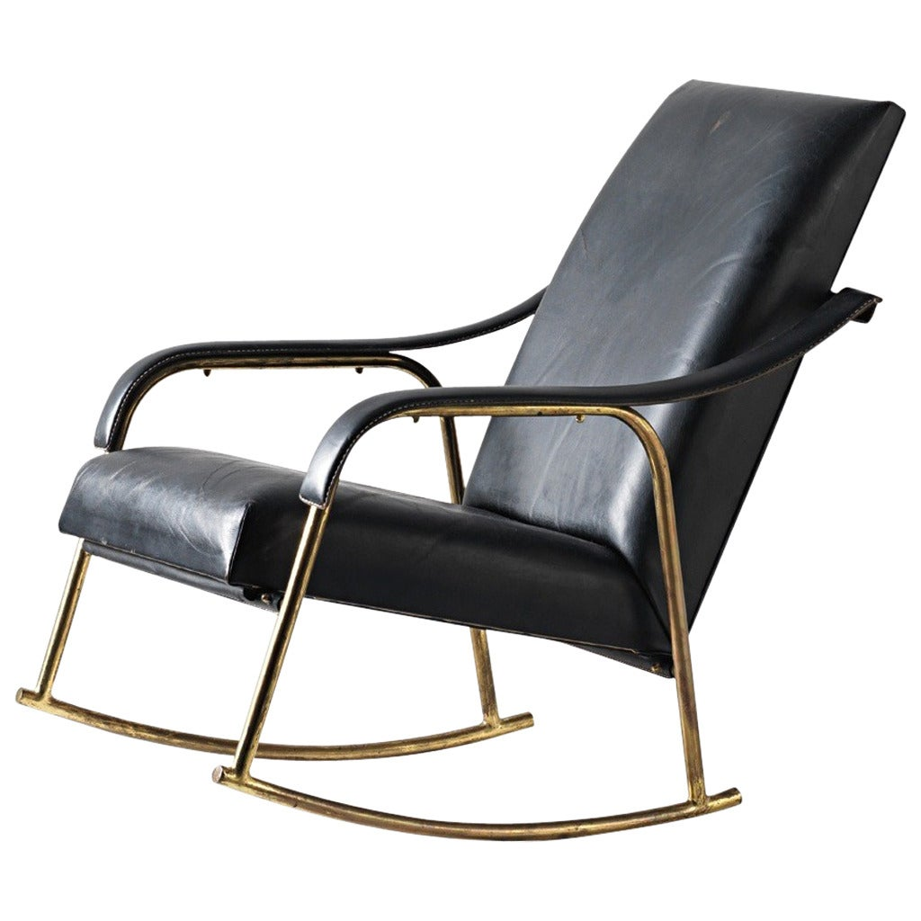 Leather Covered Rocking Chair 1960s at 1stdibs