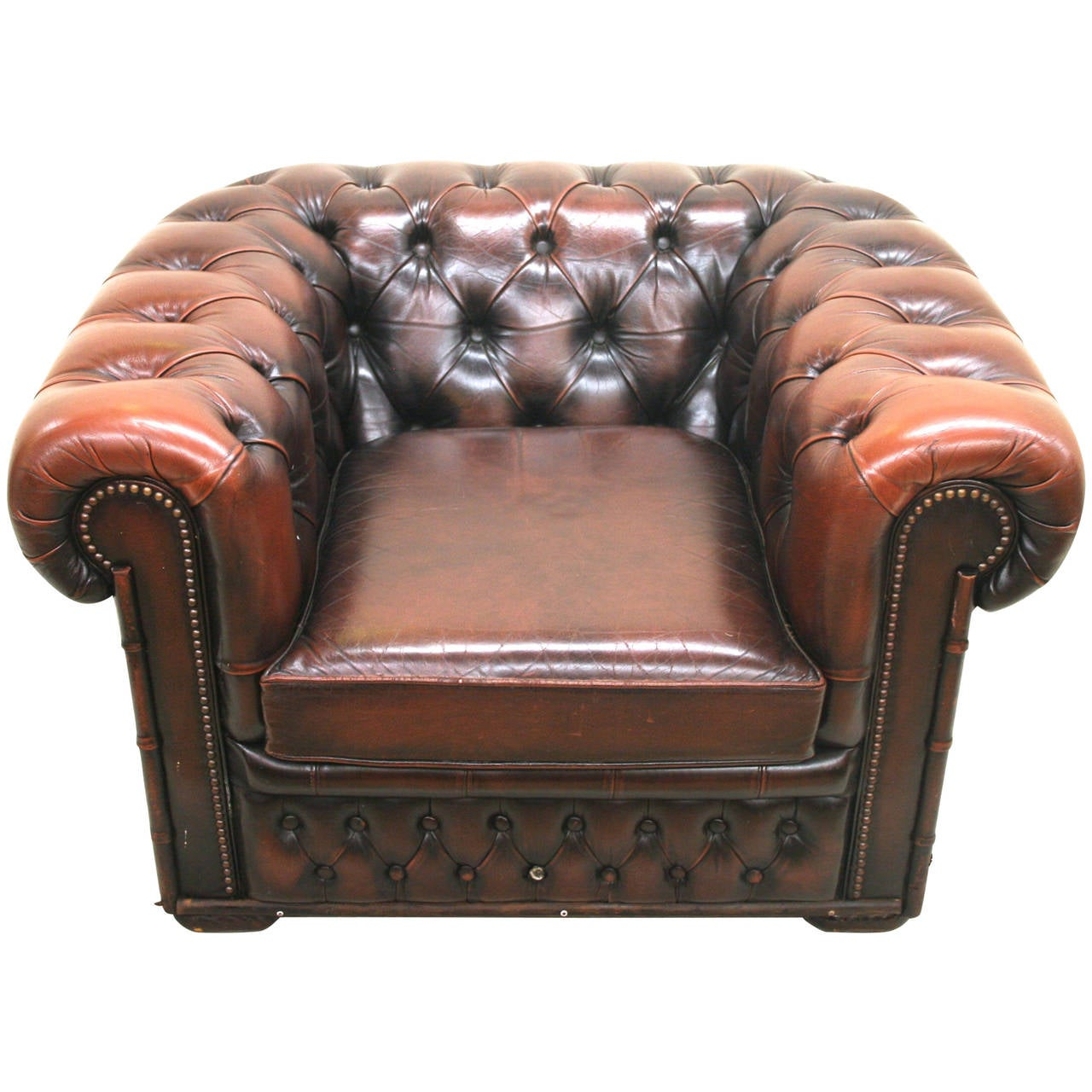 Leather Chesterfield Chair Leather Chesterfield Club Chair With Brass Nailheads And