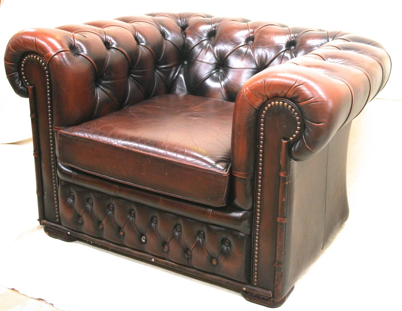 Small Leather Club Chair Leather Chesterfield Club Chair With Brass Nailheads And