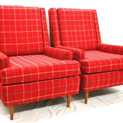 Where To Get Chairs Reupholstered Gaming Best Buy Pair Of Mid Century Modern Wingback