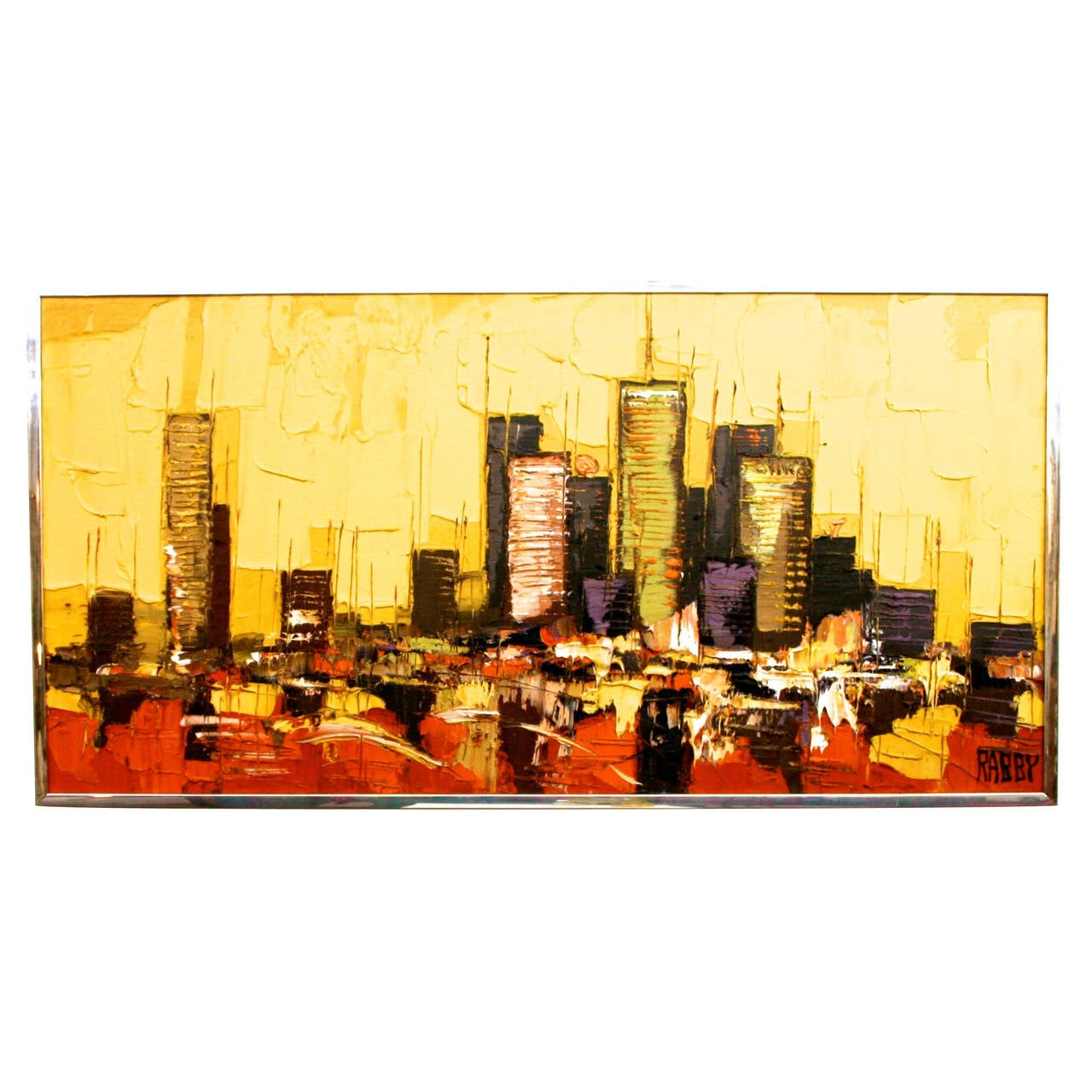Mid Century Modern Abstract Houston Skyline Oil Painting By Rabby At 1stdibs