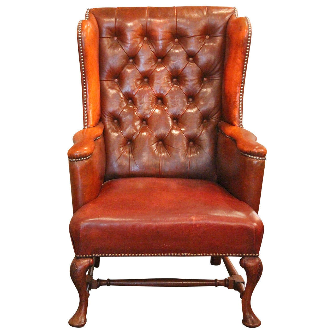 Tufted Leather Chair Tufted Leather Wingback Chair At 1stdibs