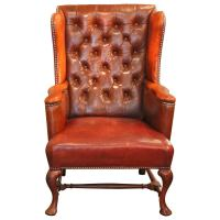 Tufted Leather Wingback Chair at 1stdibs