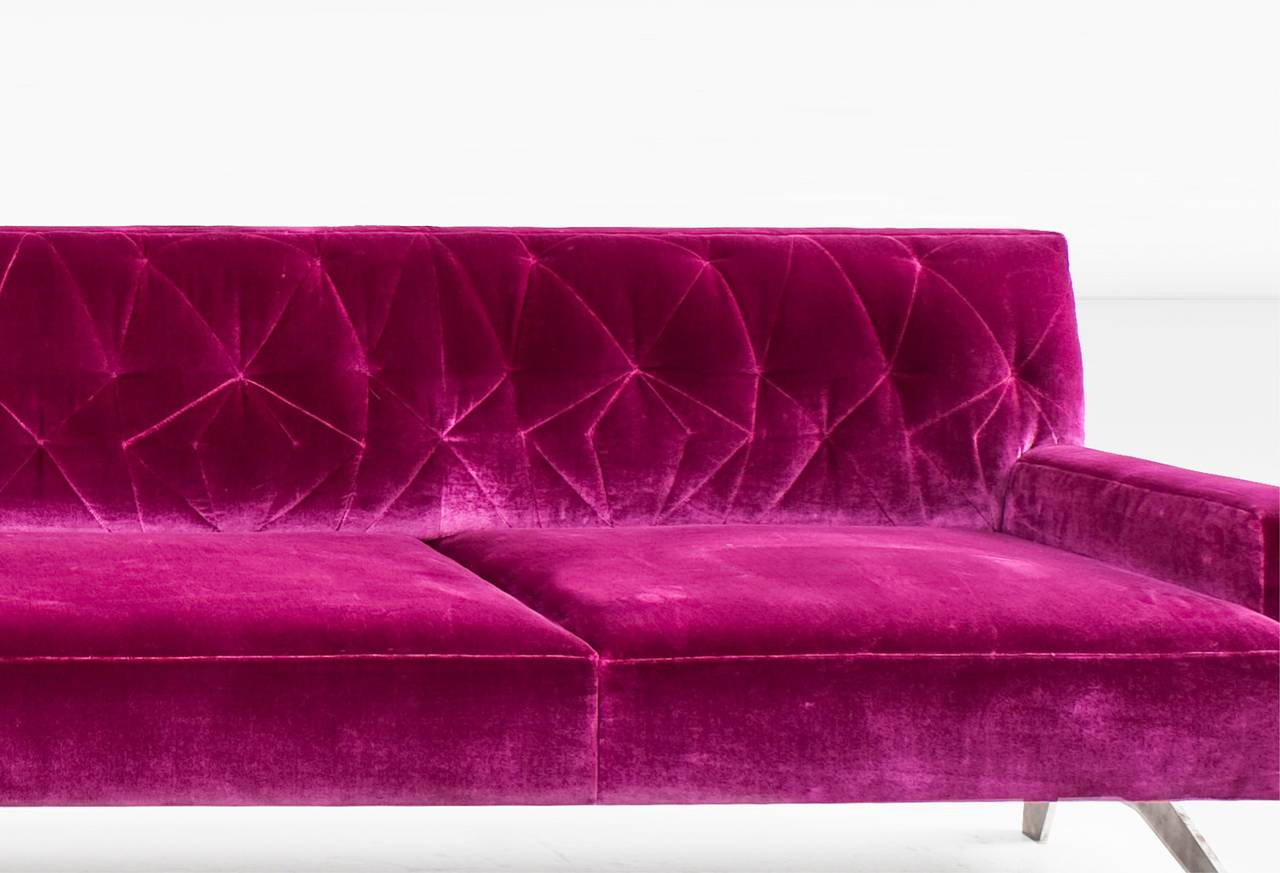 pink tufted sofa for sale sage green and loveseat mayweather with silk velvet back in fuchsia