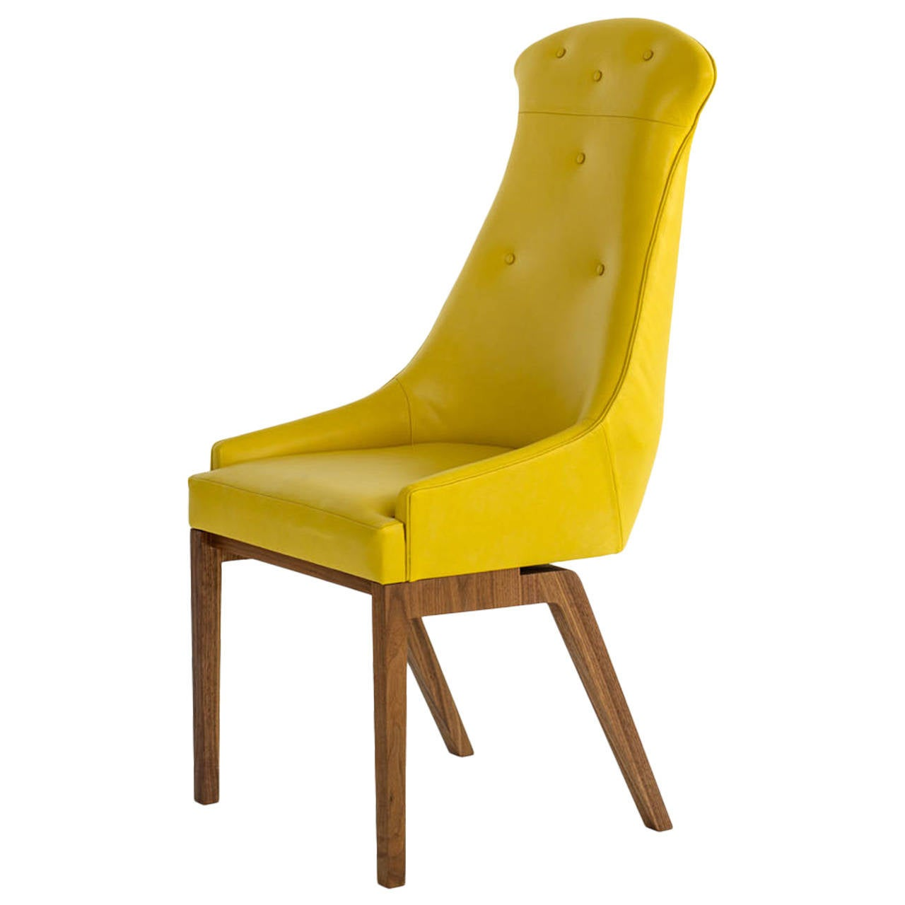 Yellow Chairs Evander Dining Chair In Yellow Wool Bouclé Or Leather With