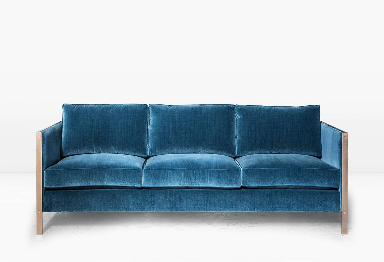 cotton velvet sofa master molty foam set armstrong with blue and brass frame for