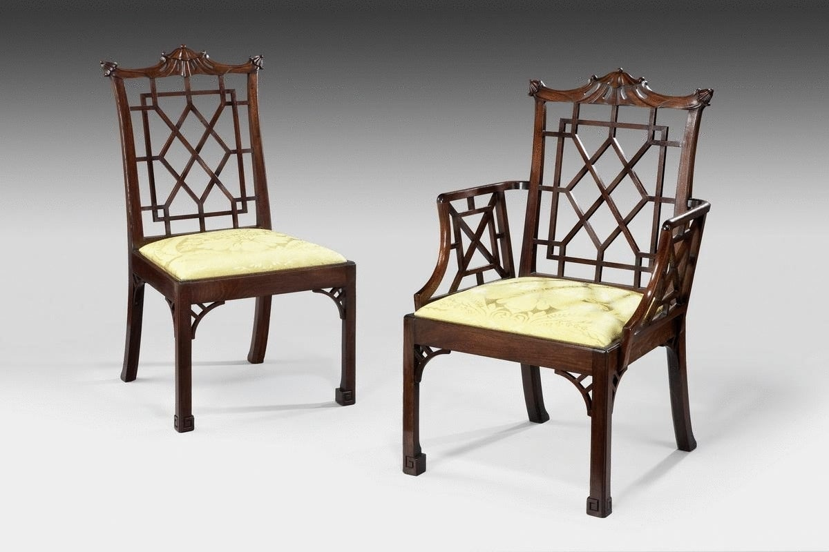 Set of 12 Chinese Chippendale Mahogany Side Chairs For